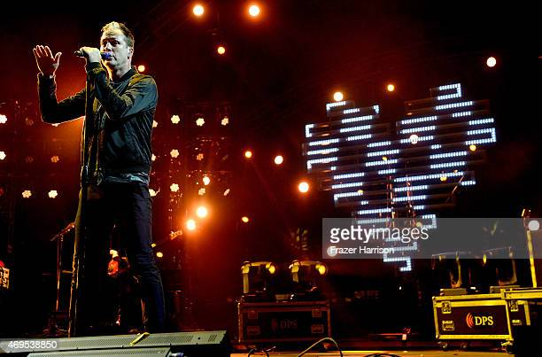 Singer Michael Fitzpatrick of Fitz and The Tantrums performs onstage during day 3 of the 2015 Coachella Valley Music Arts Festival at the Empire Polo...