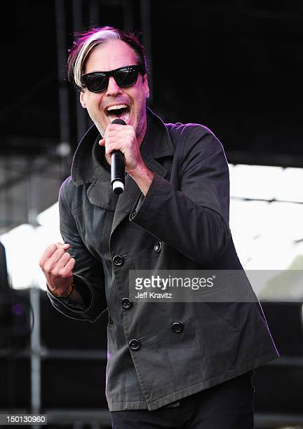 Singer Michael Fitzpatrick of the band Fitz and The Tantrums performs at the Lands End Stage during day 1 of the 2012 Outside Lands Music and Arts...