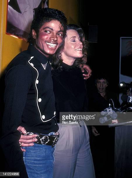 "Singer Michael Jackson and actress Jane Fonda attend the Presentation of Michael Jackson's ""Thriller"" Album Certified Platinum on February 25, 1983..."