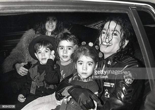 Singer Michael Jackson and children attend Dangerous Tour Press Conference on February 14 1992 at Radio City Music Hall in New York City