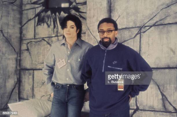 Singer Michael Jackson and filmmaker Spike Lee at a portrait session in 1996