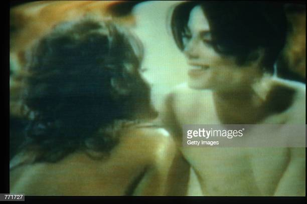 Singer Michael Jackson and his wife Lisa Marie Presley are seen in the You Are Not Alone music video August 4 1995 in USA Jackson and Presley...