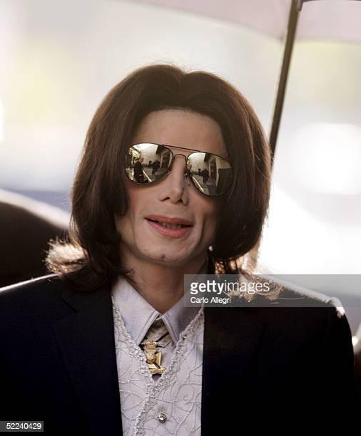 Singer Michael Jackson arrives at the Santa Barbara County Superior Court on February 25 2005 in Santa Maria California Jackson who pleaded innocent...