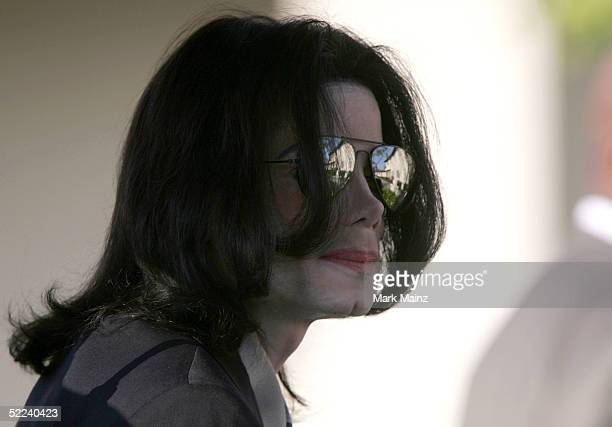 Singer Michael Jackson attends pretrial motions at the Santa Barbara County Courthouse on February 25 2005 in Santa Maria California Jackson who...