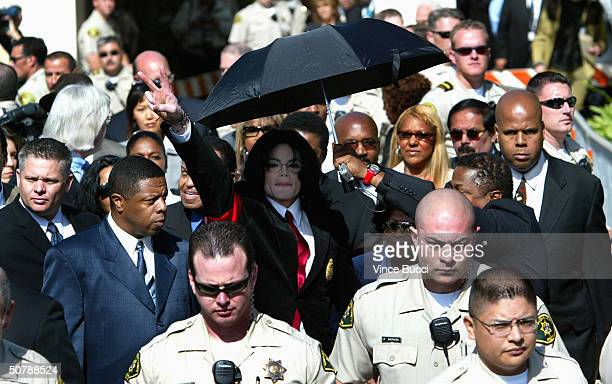 Singer Michael Jackson leaves the courthouse after his arraignment where he pleaded not guilty to a grand jury indictment of numerous child...
