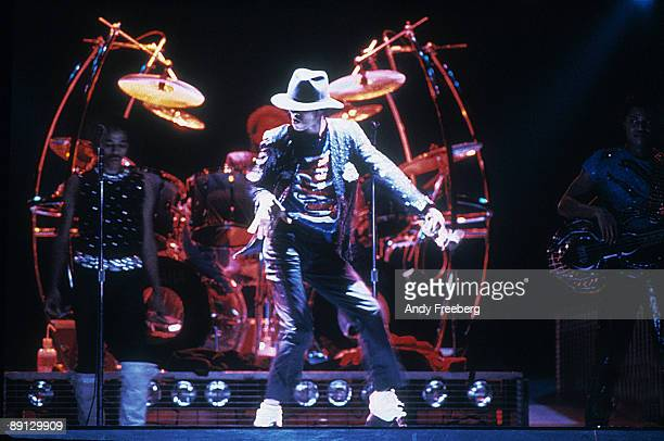 Singer Michael Jackson performing on stage during the Victory Tour at Arrowhead Stadium in in Kansas City 1984