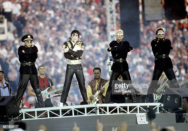 Singer Michael Jackson performs during Super Bowl XXVII halftime show on January 31 1993 at the Rose Bowl in Pasadena California