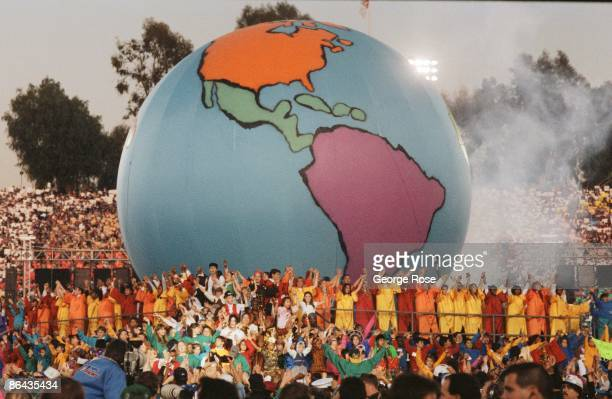 """Singer Michael Jackson performs """"Heal The World"""" during the 1993 Pasadena, California, Superbowl XXVII halftime show. The """"King of Pop"""" performed..."""