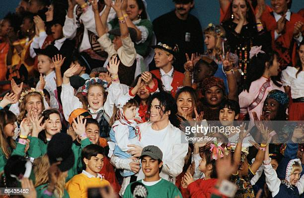 Singer Michael Jackson performs Heal The World during the 1993 Pasadena California Superbowl XXVII halftime show The King of Pop performed several...
