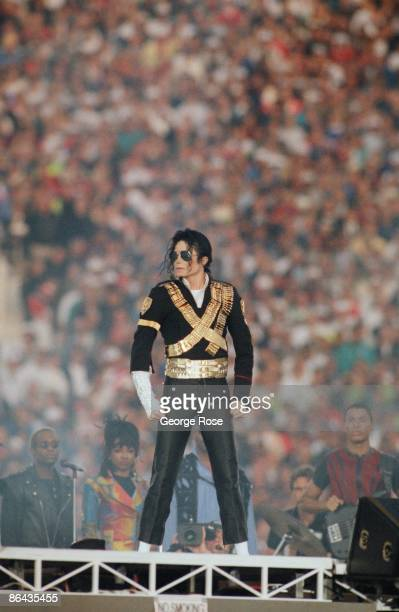 Singer Michael Jackson performs 'Heal The World' during the 1993 Pasadena California Superbowl XXVII halftime show The 'King of Pop' performed...