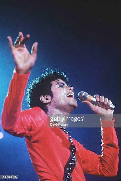Singer Michael Jackson performs on stage in 1987 in Japan