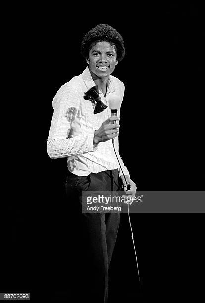 Singer Michael Jackson posing during a break at his concert in Nassau Coliseum NY 1980