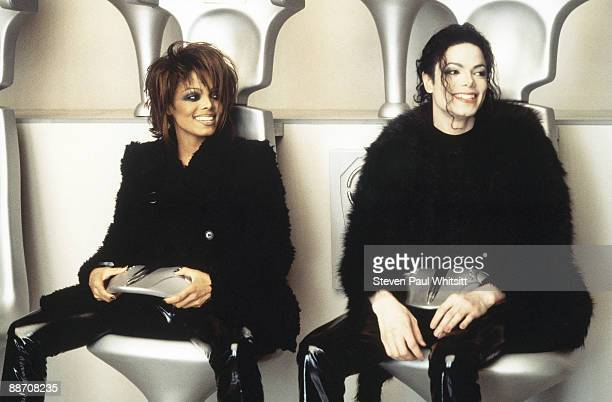Singer Michael Jackson with sister Janet Jackson on the set of music video 'Scream' 1995 Los Angeles CA