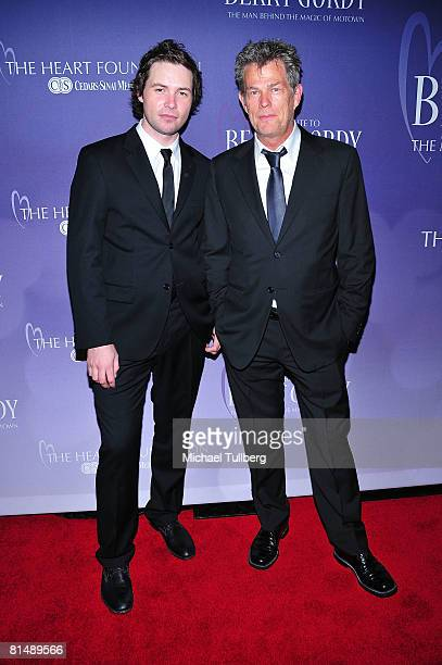 Singer Michael Johns and music producer David Foster arrive at the Heart Foundation's honoring of Berry Gordy with the Steven S Cohen Humanitarian...