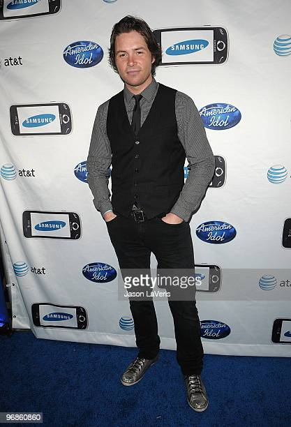 Singer Michael Johns attends the American Idol top 24 red carpet event at STK on February 18 2010 in Los Angeles California