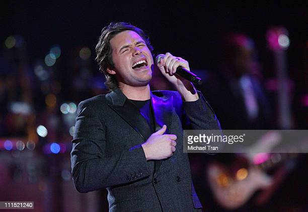 Singer Michael Johns performs onstage at the David Foster Friends one night only starstudded concert held at the Mandalay Bay Events Center on May 23...