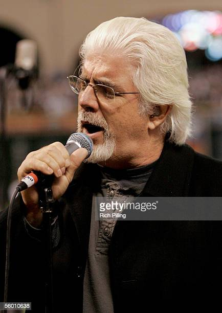 Singer Michael McDonald performs the National Anthem before Game Three of the Major League Baseball World Series at Minute Maid Park on October 25...
