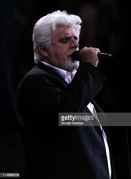 Singer Michael McDonald performs the national anthem before Game One of the 2011 NBA Finals between the Dallas Mavericks and the Miami Heat at...