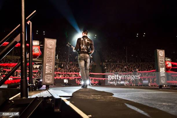 Singer Michael Schon Poulsen of the Danish band Volbeat performs live on stage during a concert at the Waldbuehne on August 24 2017 in Berlin Germany