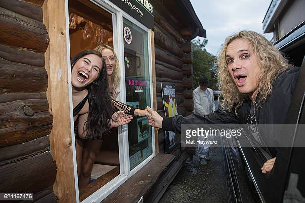Singer Michael Starr of Steel Panther stops for coffee at bikini coffee stand Hillbilly Hotties before performing at Showbox SoDo on November 19 2016...