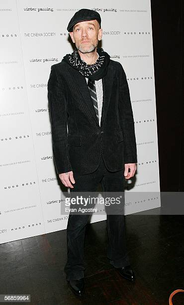 Singer Michael Stipe attends the Cinema Society/Hugo Boss screening of Winter Passing at the Tribeca Grand February 15 2006 in New York City