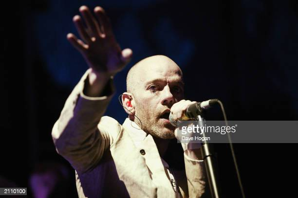 Singer Michael Stipe of REM performs in concert at The Brixton Academy on June 24, 2003 in London, England.