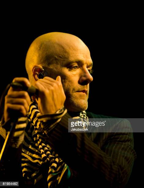 Singer Michael Stipe of the US Rock band 'REM' performs live during a concert at the Waldbuehne on July 16 2008 in Berlin Germany The concert is part...
