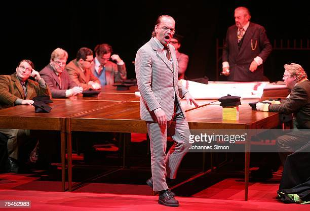 Singer Michael Volle plays the part of Sixtus Beckmesser during the rehearsal of the opera 'Meistersinger' of German composer Richard Wagner on July...