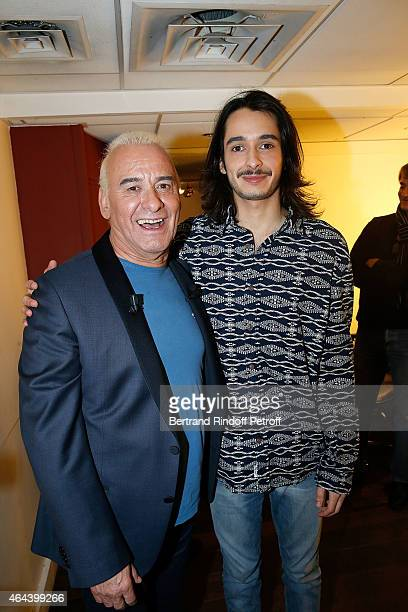 Singer Michel Fugain and his Son Alexis attend the 'Vivement Dimanche' French TV Show at Pavillon Gabriel on February 25 2015 in Paris France