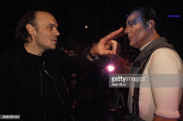 Singer Michel Pascal directed by Lewis Furey during the rehearsing of the musical Starmania at the théâtre Mogador on September 28 1993 in Paris...