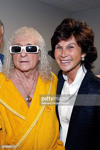 Singer Michel Polnareff and Manager of Dior Montaigne Sylvie Rousseau attend the Michel Polnareff New Tour in France at AccorHotels Arena on May 07...