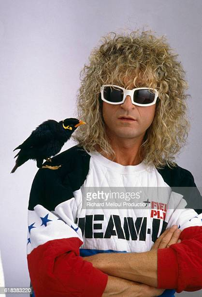 Singer Michel Polnareff with Myna Bird