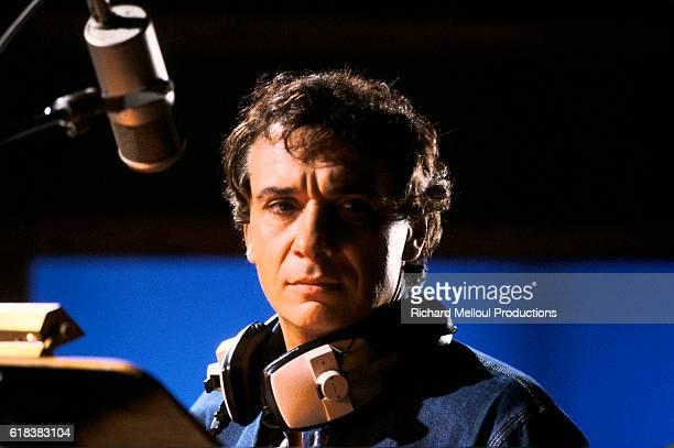 Singer Michel Sardou in Recording Studio