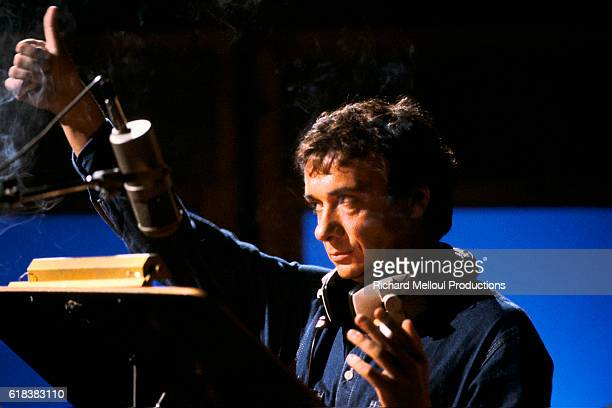 Singer Michel Sardou in Recording Studio