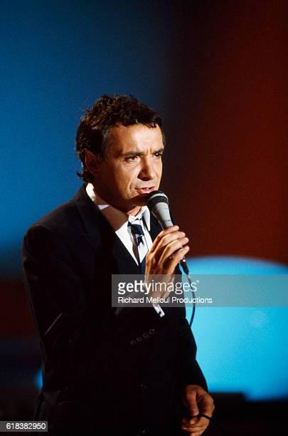 Singer Michel Sardou Rehearsing the Champs Elysees TV Show