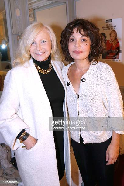 Singer Michele Torr and Actress of the Piece Isabelle Mergault attend the Theater Play 'Ne me regardez pas comme ca ' performed at 'Theatre Des...