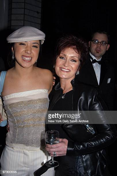Singer Michelle Branch gets together with Sharon Osbourne during a preGrammy party hosted by Clive Davis in the Grand Ballroom of the Regent Wall St...