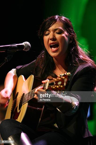 Singer Michelle Branch performs at the announcement of the 'Going Green Tour', an online video network show that she is hosting for Broadband...