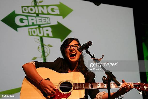 Singer Michelle Branch sound-checks at the announcement of 'Going Green Tour', an online video network show that she is hosting for Broadband...