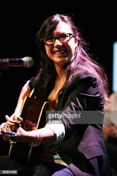 Singer Michelle Branch sound-checks at the announcement of the 'Going Green Tour', an online video network show that she is hosting for Broadband...