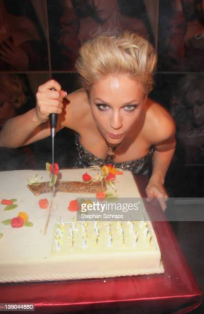 Singer Michelle cutting her birthday cake during the celebration of her 40th birthday at Claerchens Ballhaus Auguststrasse 24 on February 15 2012 in...