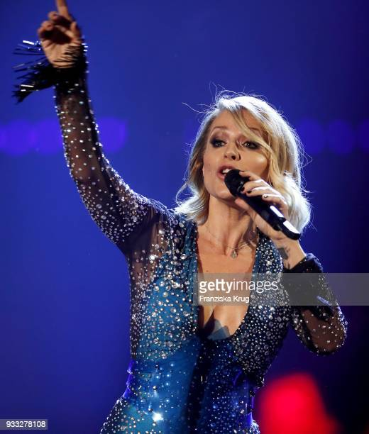 Singer Michelle performs during the TV show 'Heimlich Die grosse SchlagerUeberraschung' on March 17 2018 in Munich Germany