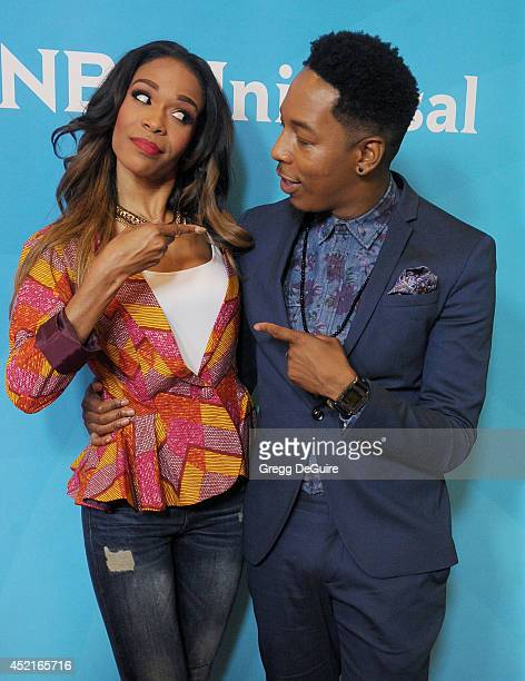 Singer Michelle Williams and Deitrick Haddon arrive at the 2014 Television Critics Association Summer Press Tour - NBCUniversal - Day 2 at The...