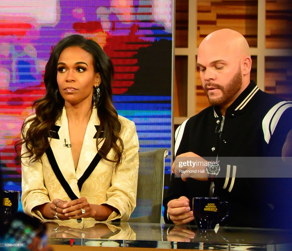 Singer Michelle Williams and Pastor Chad Johnson are seen on the set of 'Good Morning America' on November 2 2018 in New York City