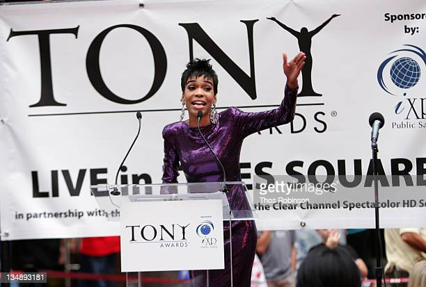 Singer Michelle Williams attends the 64th Annual Tony Awards simulcast in Times Square on June 13, 2010 in New York City.