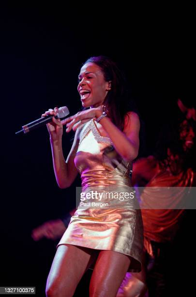 Singer Michelle Williams of American r&b girl group Destiny's Child performs at Rotterdam Ahoy, Rotterdam, Netherlands, 21 May 2002.