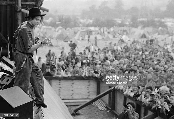 Singer Mick Hucknall performing with Simply Red at the Glastonbury Festival near Pilton Somerset 22nd June 1986