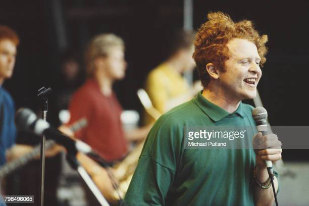 Singer Mick Hucknall performs live with Simply Red on the Pyramid Stage at the Glastonbury Festival near Pilton Somerset 22nd June 1986