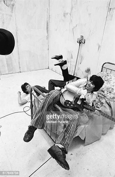 Singer Mick Jagger and guitarist Keith Richards mess around during the production of the music video for 'Respectable' in New York in 1978