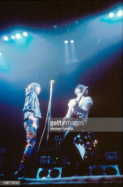 Singer Mick Jagger and guitarist Keith Richards of the Rolling Stones performing on stage at the Knebworth Fair in Hertfordshire England on August 21...